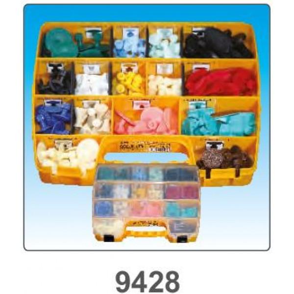 Органайзер комплектуется 15 видами клеевых грибков (150 шт). В комплект входят позиции: 10 шт - 9445, 10 шт - 9193, 10 шт - 9112, 10 шт - 9045, 10 шт - 9046, 10 шт - 9194, 10 шт - 9043, 10 шт - 9120, 10 шт - 9444, 10 шт - 9559, 10 шт - 9561, 10 шт - 9196,